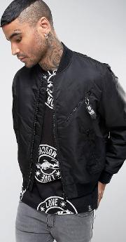 Love Moschino , Bomber Jacket With Zip Tab And Peace Back Panel Black