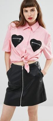 Love Moschino , Shirt With Heart Pockets Pink