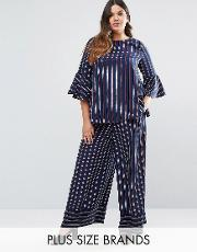 Lovedrobe , Co Ord Striped Wide Leg Trousers Navy