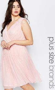 Lovedrobe , Plus Pleated Dress With Wrap Front Soft Pink