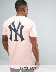 Majestic , New York Yankees Longline T Shirt Exclusive To Asos Pink