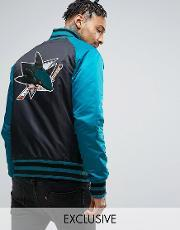 Majestic , Sharks Souvenir Jacket Exclusive To Asos Black