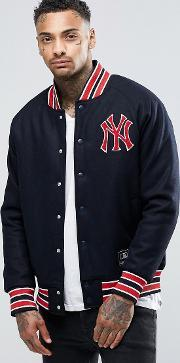 Majestic , Yankees Letterman Jacket In Wool Navy