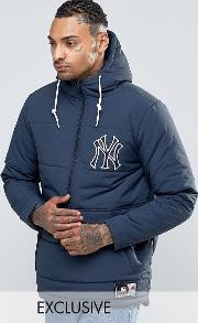 Majestic , Yankees Padded Overhead Jacket Exclusive To Asos Navy