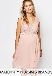 Mamalicious , Nursing Lace Bodice Swing Dress Pink