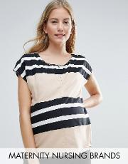 Mamalicious , Nursing Striped Woven Top Multi
