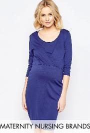 Mamalicious , Nursing Wrap Front Jersey Dress Blue