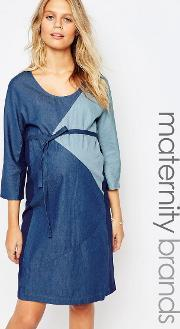 Mamalicious , Patched Denim Dress Blue