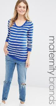 Mamalicious , Stripe Knitted Jumper Blue