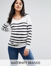 Mamalicious , Stripe Knitted Long Sleeve Jumper White