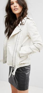 Mango , Leather Look Biker Jacket With Buckle Detail White