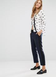Mango , Soft Trouser With Side Stripe Navy