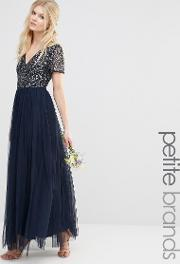 Maya Petite , V Neck Maxi Tulle Dress With Tonal Delicate Sequins Navy