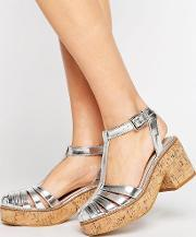 Asos , Oasis Cork Platform Shoes Silver