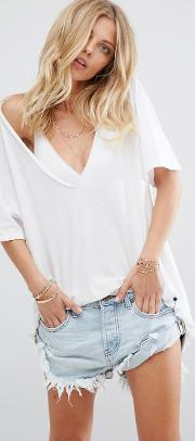 One Teaspoon , Cali T Shirt With Deep V Neck Winter White