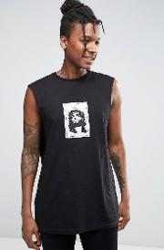 Asos , Oversized Sleeveless T Shirt With Patch Applique Black