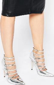 Asos , Personalise Caged Pointed High Heels Silver