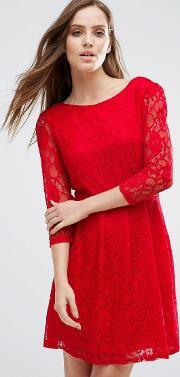 Pussycat London , Lace Skater Dress Red