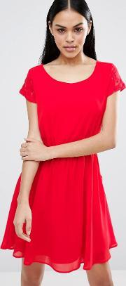 Pussycat London , Skater Dress With Pockets Red