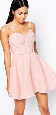 Rare Opulence , Prom Dress With Plaited Bust Detail Pink
