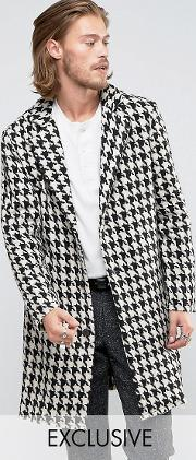 Reclaimed Vintage , Overcoat In Hounds Tooth With Raw Hem Black