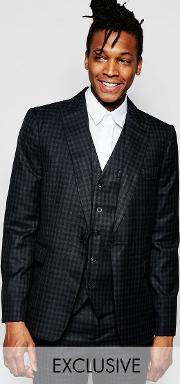 Rogues Of London , Exclusive Mini Check Suit Jacket  Skinny Fit Black