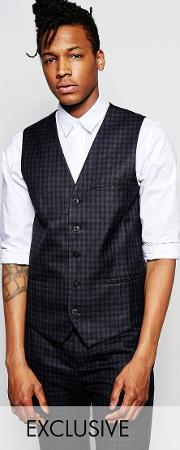 Rogues Of London , Exclusive Mini Check Waistcoat  Skinny Fit Black