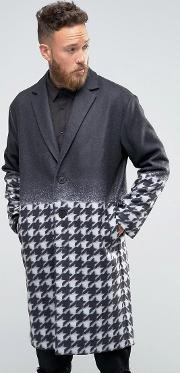 Rogues Of London , Gradient Dogtooth Overcoat Black