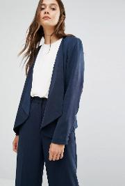 Selected , Dusa Blazer With Zip Pockets Navy