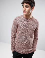 Selected Homme , Crew Neck Knitted Jumper In Textured Stripe Apple Butter