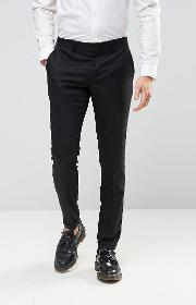 Selected Homme , Skinny Fit Trousers With Stretch And Turn Up Black