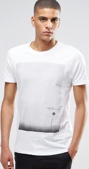 Selected Homme , T Shirt With Flower Print White