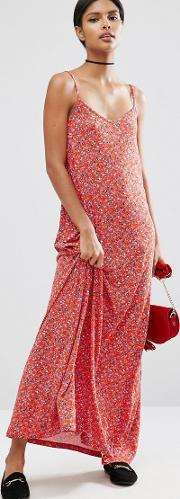 Asos , Strappy Maxi Dress In Ditsy Floral Print Multi
