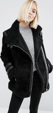 Asos , Suede Aviator Jacket With Faux Shearling Black