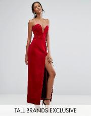 Taller Than Your Average , Ttya Black Bonded Velvet Sweetheart Bandeau Maxi Dress With Thigh Split Red