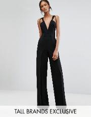 Taller Than Your Average , Ttya Black Wachira Sleeveless Plunge Front Jumpsuit With Cutout  Detail