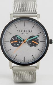 Ted Baker , Brit Chronograph Mesh Watch In Silver