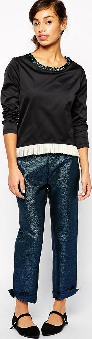 The Laden Showroom , X Even Vintage Metallic Disco Trousers Blue
