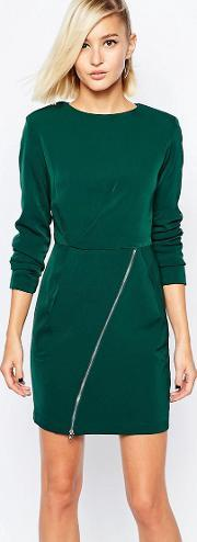 The Laden Showroom , X Meekat Shift Dress With Zip Skirt Green