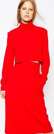 The Laden Showroom , X Re Dream High Neck Crop Top Red