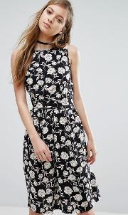 Trollied Dolly , Floral Sketch Print Dress Black And White