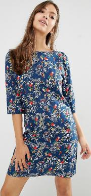 Trollied Dolly , Gift Of A Shift Bird & Butterfly Print Dress Navy