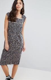 Trollied Dolly , Peace Out Pom  Trim Dress Navy Floral