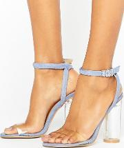 Truffle Collection , Clear Perspex Upper Heel Sandal Blue  Vam