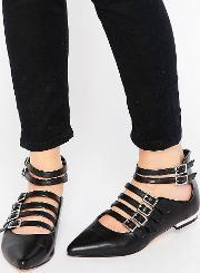 Truffle Collection , Edlyn Multi Strap Point Flat Shoes Black Pu