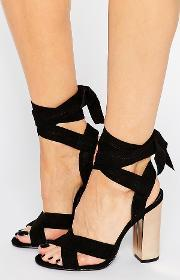 Truffle Collection , Truffle Tie Ankle High Block Heel Sandals Black