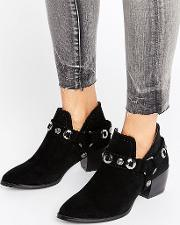 Truffle Collection , Western Trim Boot Black Micro