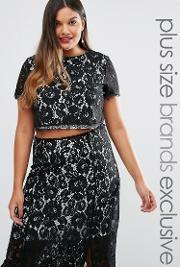 Truly You , Co Ord Lace Crop Top Black