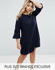 Truly You , Fluted Sleeve Shift Dress Navy