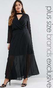 Truly You , Long Sleeve Maxi Dress With Collar Detail Black